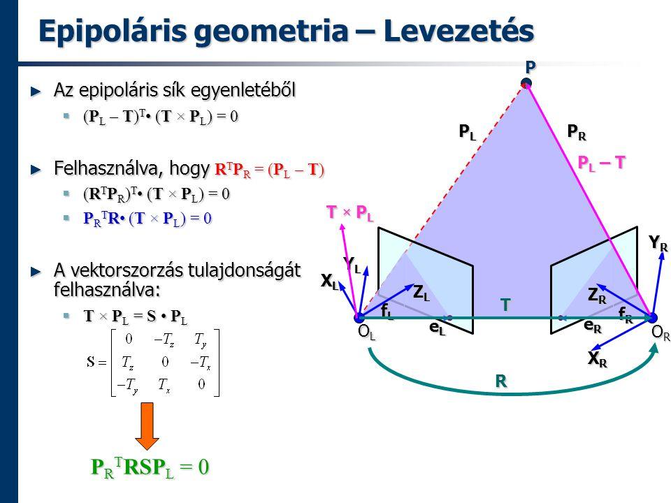 Epipoláris geometria – Levezetés ► Az epipoláris sík egyenletéből  (P L – T) T (T × P L ) = 0 ► Felhasználva, hogy R T P R = (P L – T)  (R T P R ) T (T × P L ) = 0  P R T R (T × P L ) = 0 ► A vektorszorzás tulajdonságát felhasználva:  T × P L = S P L P R T RSP L = 0 P R T RSP L = 0 P OLOLOLOL OROROROR PLPLPLPL PRPRPRPR eLeLeLeL eReReReR XLXLXLXL XRXRXRXR fLfLfLfL fRfRfRfR ZLZLZLZL YLYLYLYL ZRZRZRZR YRYRYRYR R T P L – T T × P L