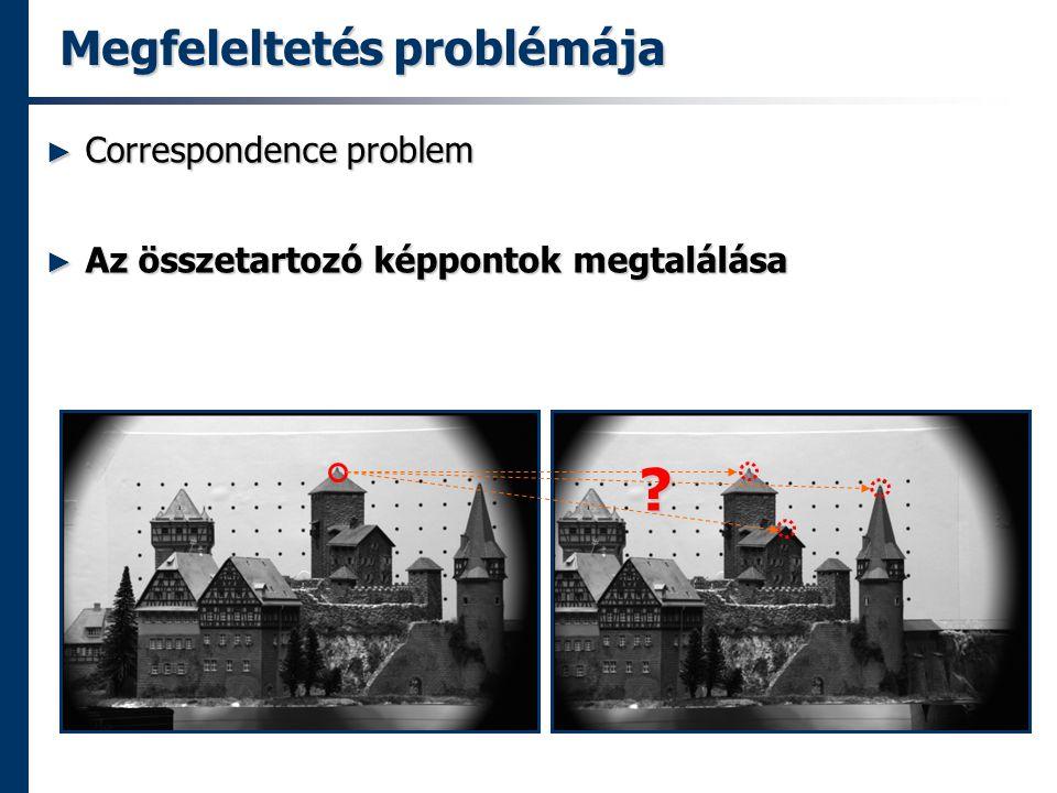 Megfeleltetés problémája ► Correspondence problem ► Az összetartozó képpontok megtalálása ?