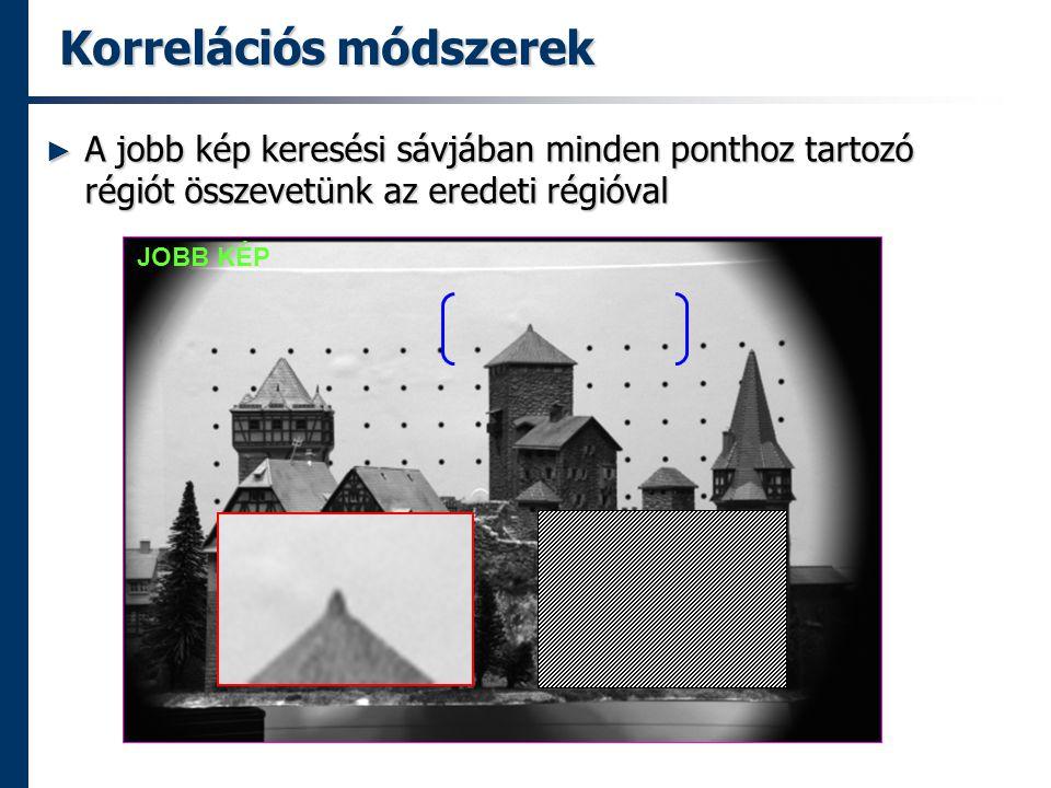 Korrelációs módszerek ► A jobb kép keresési sávjában minden ponthoz tartozó régiót összevetünk az eredeti régióval JOBB KÉP