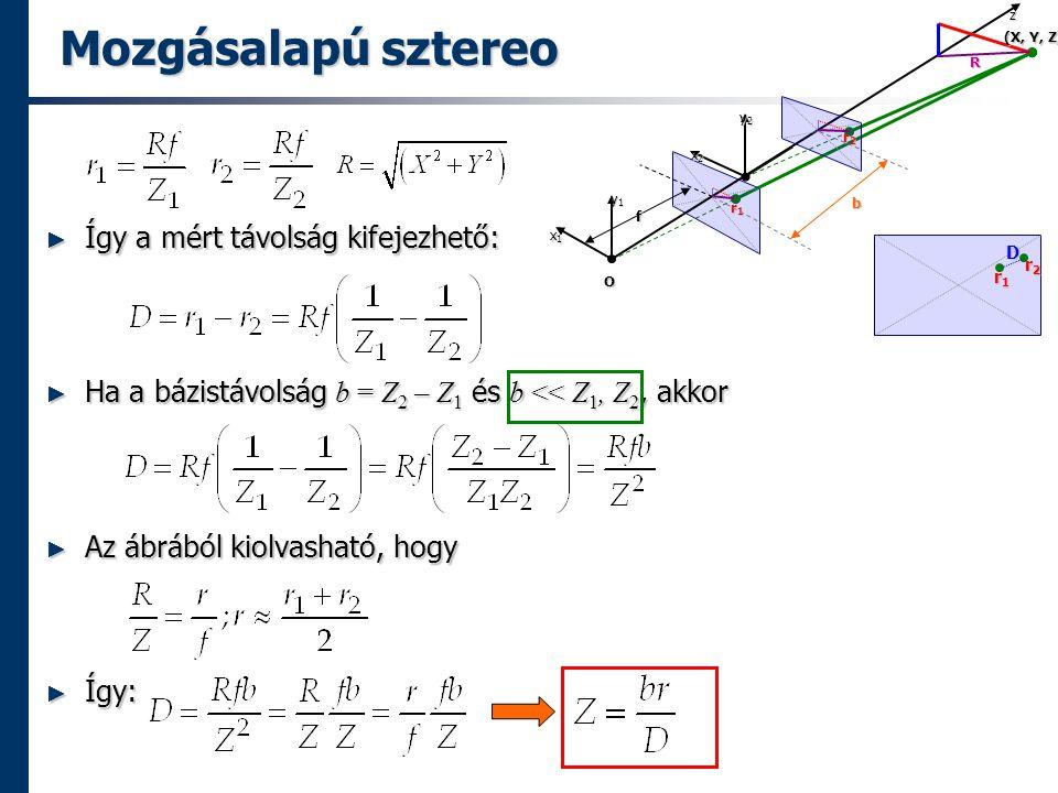 Mozgásalapú sztereo ► Így a mért távolság kifejezhető: ► Ha a bázistávolság b = Z 2 – Z 1 és b << Z 1, Z 2, akkor ► Az ábrából kiolvasható, hogy ► Így: r1r1r1r1 (X, Y, Z) O x1x1x1x1 y1y1y1y1zf b r2r2r2r2 R x2x2x2x2 y2y2y2y2 r1r1r1r1 r2r2r2r2 D