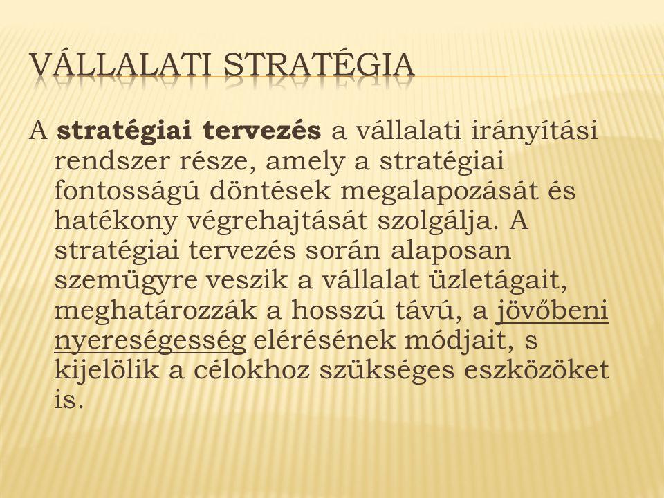A stratégiai tervezés a vállalati irányítási rendszer része, amely a stratégiai fontosságú döntések megalapozását és hatékony végrehajtását szolgálja.