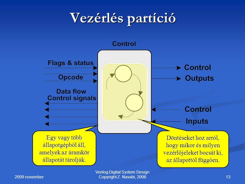 2009 november 13 Verilog Digital System Design Copyright Z. Navabi, 2006 Vezérlés partíció Egy vagy több állapotgépből áll, amelyek az áramkör állapot