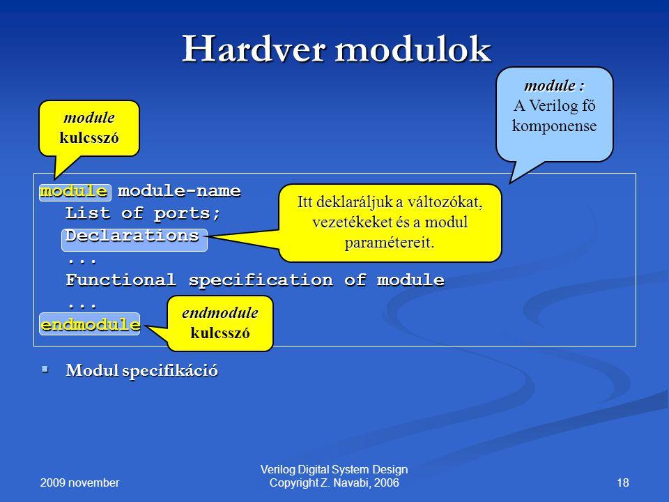 2009 november 18 Verilog Digital System Design Copyright Z. Navabi, 2006 Hardver modulok module module-name List of ports; Declarations... Functional