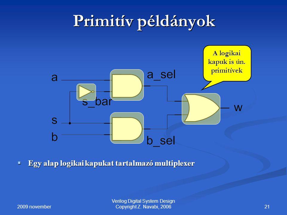 2009 november 21 Verilog Digital System Design Copyright Z. Navabi, 2006 Primitív példányok  Egy alap logikai kapukat tartalmazó multiplexer A logika