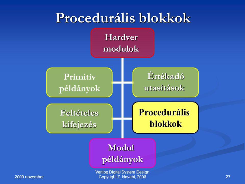 2009 november 27 Verilog Digital System Design Copyright Z. Navabi, 2006 Procedurális blokkok Procedurális blokkok