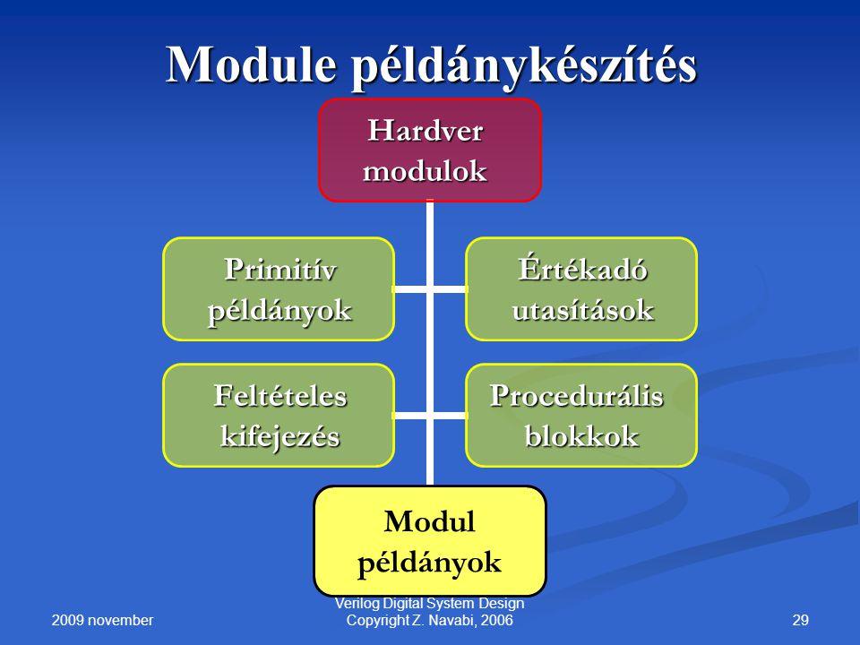 2009 november 29 Verilog Digital System Design Copyright Z. Navabi, 2006 Module példánykészítés Modul példányok