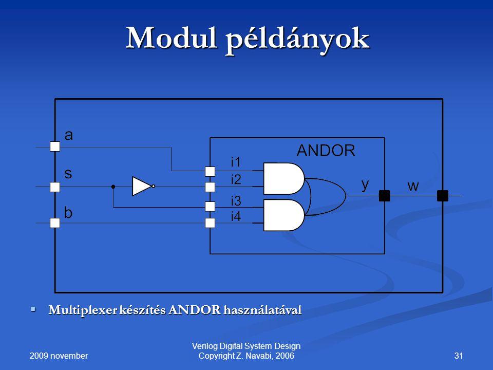 2009 november 31 Verilog Digital System Design Copyright Z. Navabi, 2006 Modul példányok  Multiplexer készítés ANDOR használatával