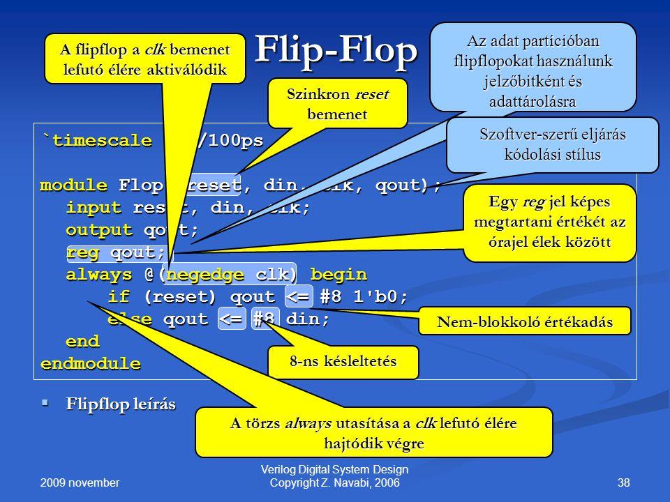 2009 november 38 Verilog Digital System Design Copyright Z. Navabi, 2006 Flip-Flop `timescale 1ns/100ps module Flop (reset, din, clk, qout); input res