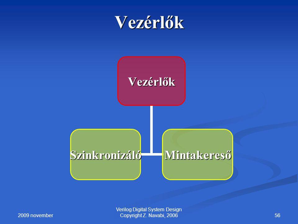 2009 november 56 Verilog Digital System Design Copyright Z. Navabi, 2006 VezérlőkVezérlők SzinkronizálóMintakereső