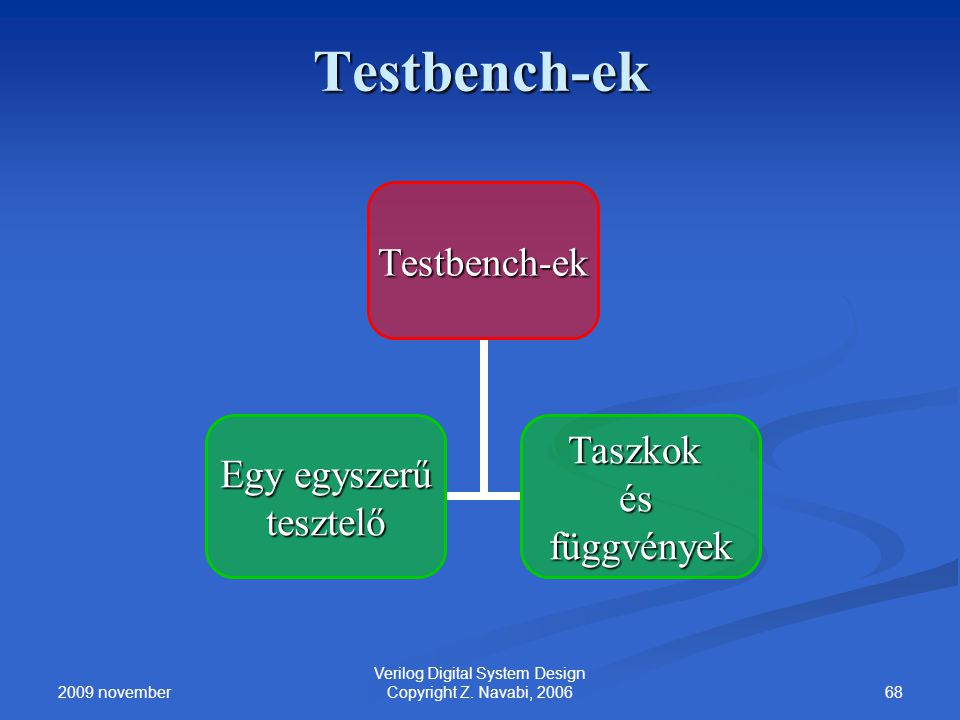 2009 november 68 Verilog Digital System Design Copyright Z. Navabi, 2006 Testbench-ek Egy egyszerű tesztelő Taszkok ésfüggvények