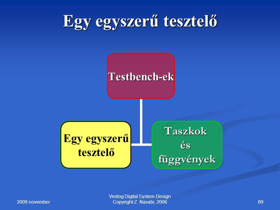 2009 november 69 Verilog Digital System Design Copyright Z. Navabi, 2006 Egy egyszerű tesztelő Testbench-ek A Simple Tester Taszkok ésfüggvények Egy e