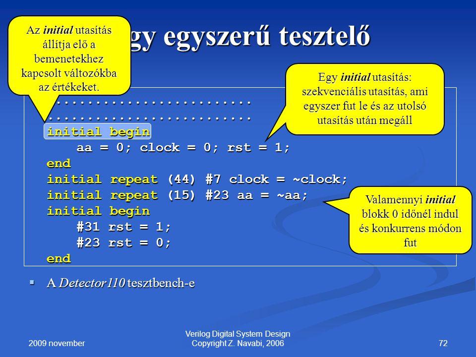 2009 november 72 Verilog Digital System Design Copyright Z. Navabi, 2006 Egy egyszerű tesztelő.................................................... ini