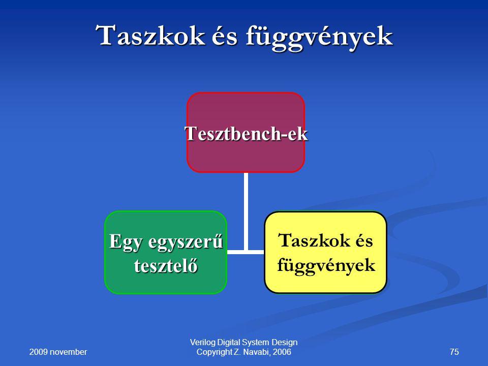 2009 november 75 Verilog Digital System Design Copyright Z. Navabi, 2006 Taszkok és függvények Tesztbench-ek Egy egyszerű tesztelőTasksAndFunctions Ta