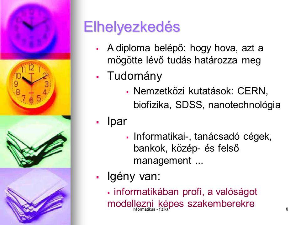 Informatikus - fizika8  A diploma belépő: hogy hova, azt a mögötte lévő tudás határozza meg  Tudomány  Nemzetközi kutatások: CERN, biofizika, SDSS, nanotechnológia  Ipar  Informatikai-, tanácsadó cégek, bankok, közép- és felső management...