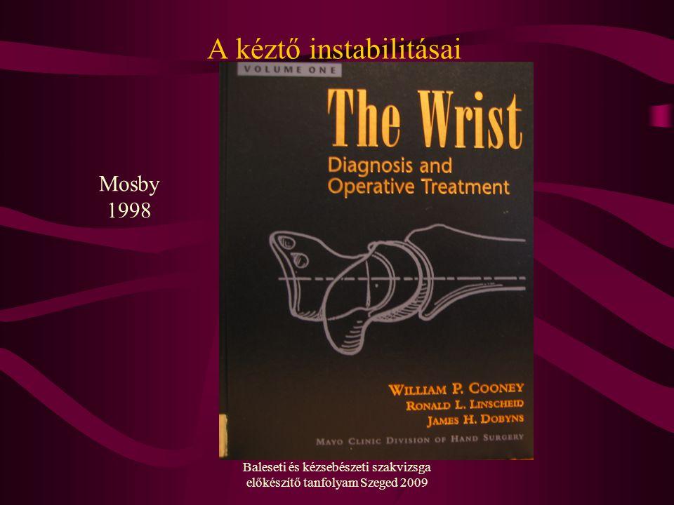 Baleseti és kézsebészeti szakvizsga előkészítő tanfolyam Szeged 2009 A kéztő instabilitásai Mosby 1998