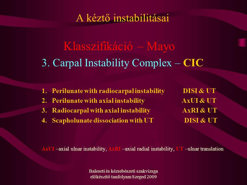 Baleseti és kézsebészeti szakvizsga előkészítő tanfolyam Szeged 2009 A kéztő instabilitásai Klasszifikáció – Mayo 3.