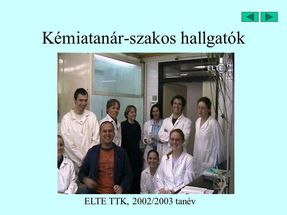 Kémiatanár-szakos hallgatók ELTE TTK, 2002/2003 tanév