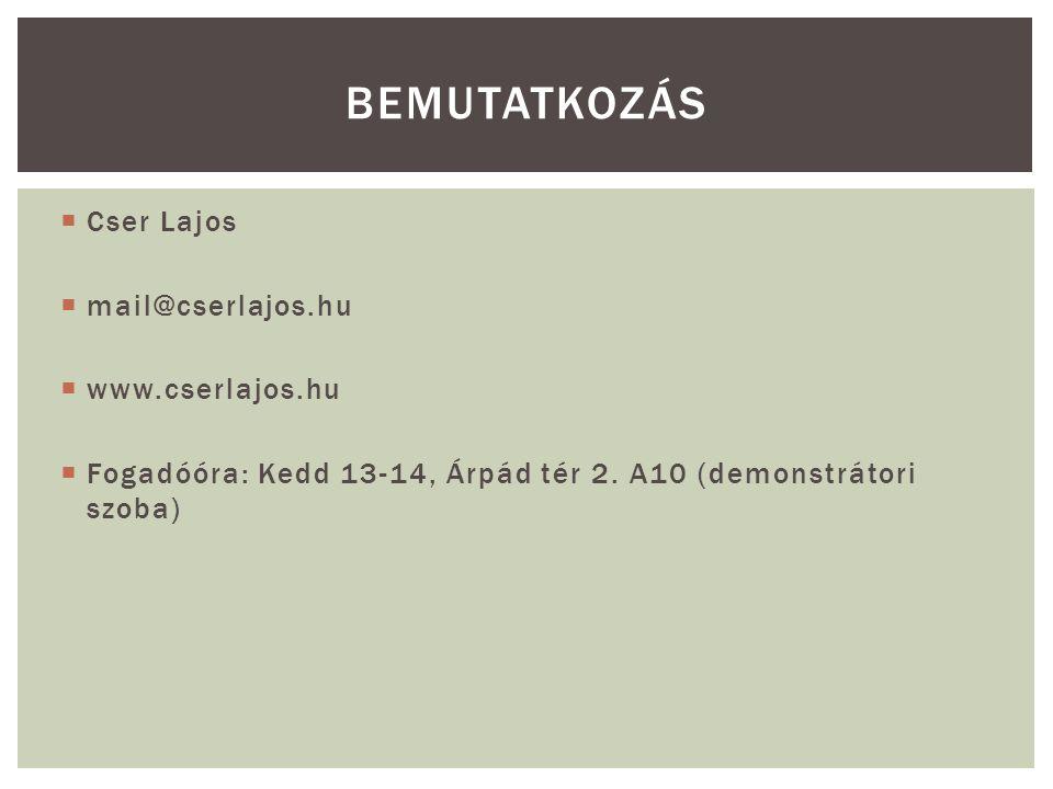  Cser Lajos  mail@cserlajos.hu  www.cserlajos.hu  Fogadóóra: Kedd 13-14, Árpád tér 2. A10 (demonstrátori szoba) BEMUTATKOZÁS