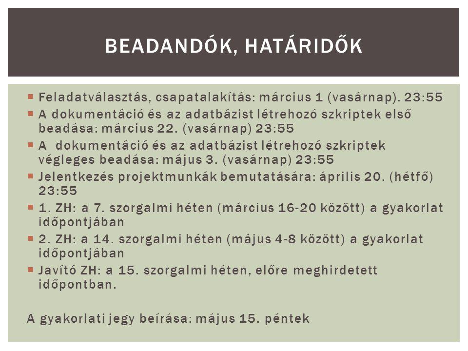  Feladatválasztás, csapatalakítás: március 1 (vasárnap).