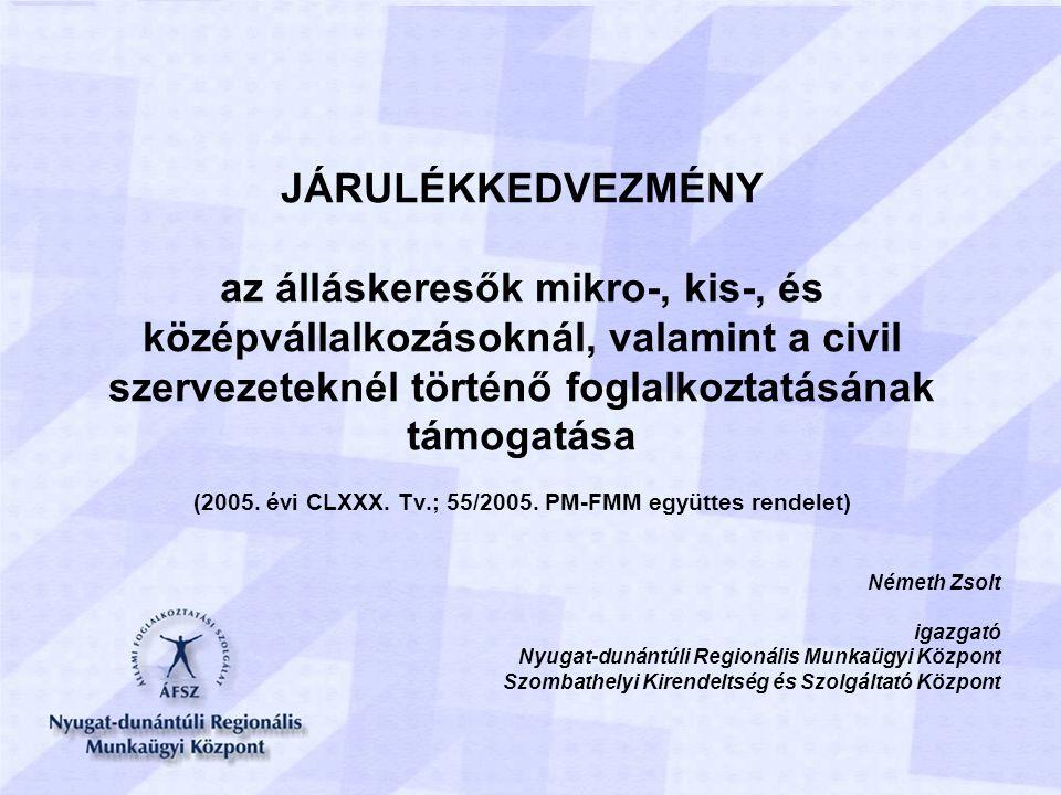 JÁRULÉKKEDVEZMÉNY az álláskeresők mikro-, kis-, és középvállalkozásoknál, valamint a civil szervezeteknél történő foglalkoztatásának támogatása (2005.