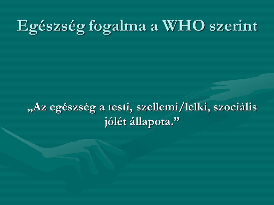 """Egészség fogalma a WHO szerint """"Az egészség a testi, szellemi/lelki, szociális jólét állapota."""""""