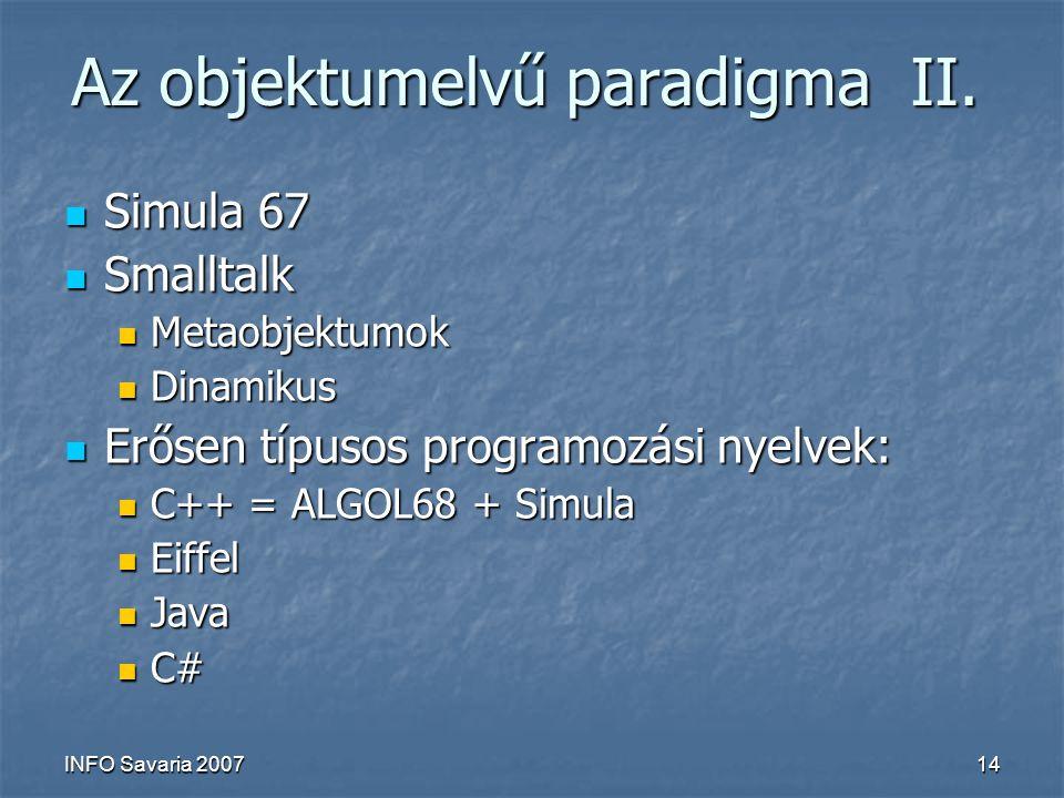 INFO Savaria 200714 Az objektumelvű paradigma II.