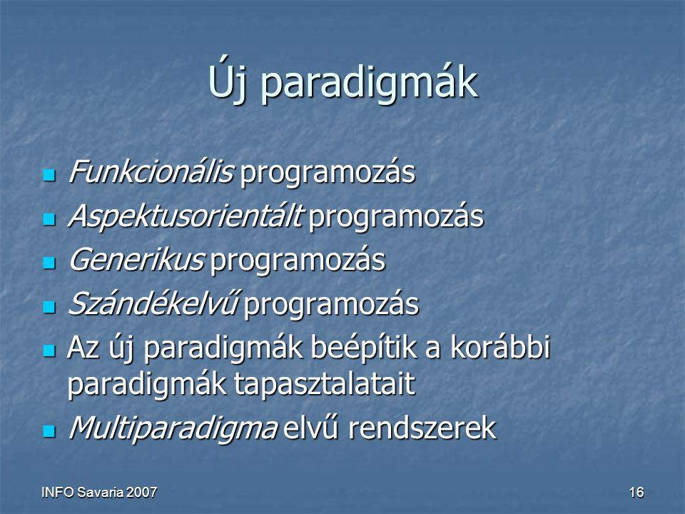 INFO Savaria 200716 Új paradigmák Funkcionális programozás Funkcionális programozás Aspektusorientált programozás Aspektusorientált programozás Generikus programozás Generikus programozás Szándékelvű programozás Szándékelvű programozás Az új paradigmák beépítik a korábbi paradigmák tapasztalatait Az új paradigmák beépítik a korábbi paradigmák tapasztalatait Multiparadigma elvű rendszerek Multiparadigma elvű rendszerek
