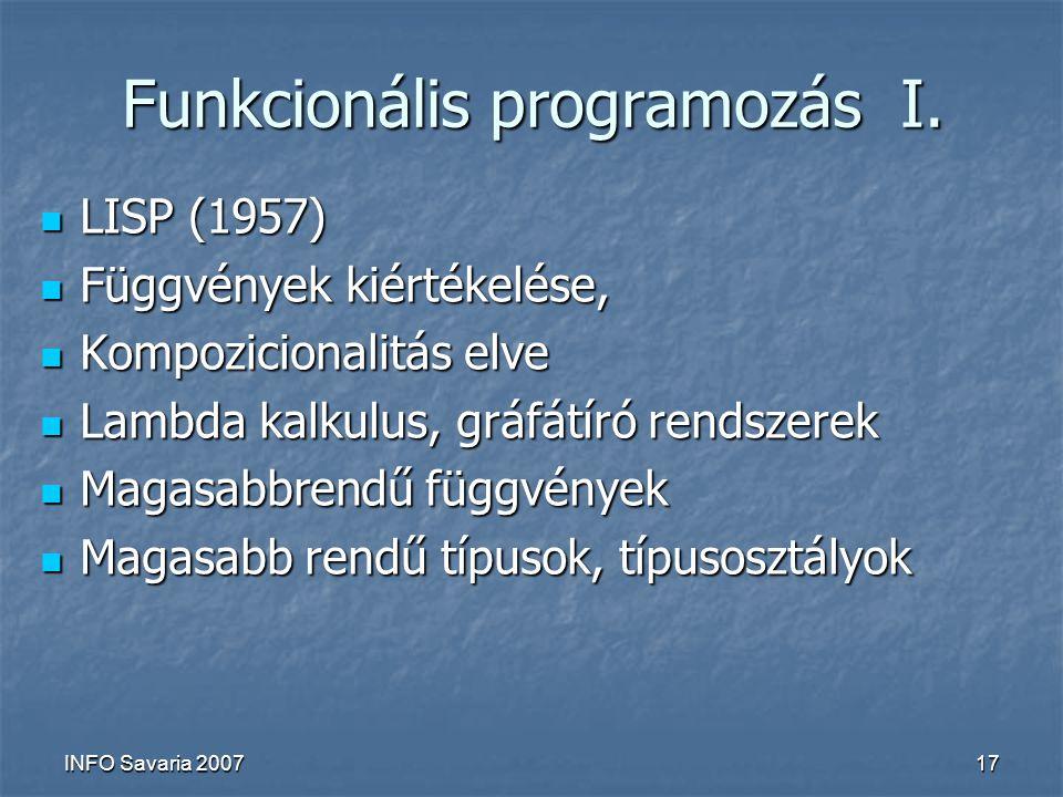 INFO Savaria 200717 Funkcionális programozás I.