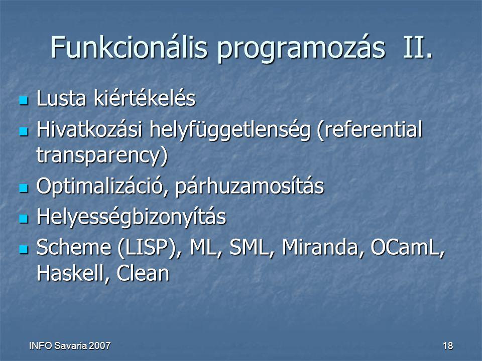 INFO Savaria 200718 Funkcionális programozás II.