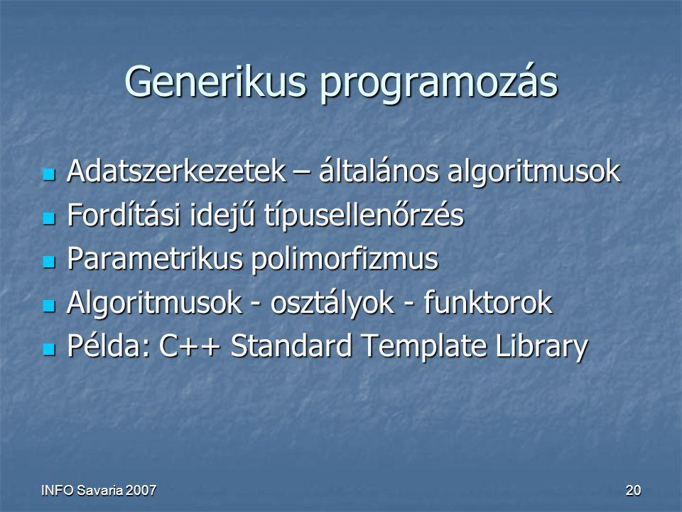INFO Savaria 200720 Generikus programozás Adatszerkezetek – általános algoritmusok Adatszerkezetek – általános algoritmusok Fordítási idejű típusellenőrzés Fordítási idejű típusellenőrzés Parametrikus polimorfizmus Parametrikus polimorfizmus Algoritmusok - osztályok - funktorok Algoritmusok - osztályok - funktorok Példa: C++ Standard Template Library Példa: C++ Standard Template Library