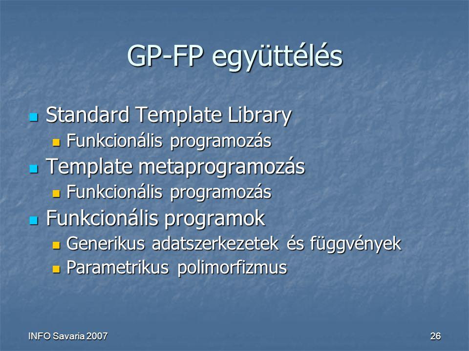 INFO Savaria 200726 GP-FP együttélés Standard Template Library Standard Template Library Funkcionális programozás Funkcionális programozás Template metaprogramozás Template metaprogramozás Funkcionális programozás Funkcionális programozás Funkcionális programok Funkcionális programok Generikus adatszerkezetek és függvények Generikus adatszerkezetek és függvények Parametrikus polimorfizmus Parametrikus polimorfizmus