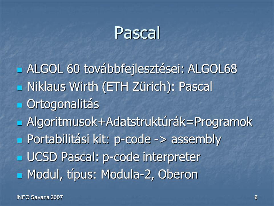 INFO Savaria 20078 Pascal ALGOL 60 továbbfejlesztései: ALGOL68 ALGOL 60 továbbfejlesztései: ALGOL68 Niklaus Wirth (ETH Zürich): Pascal Niklaus Wirth (ETH Zürich): Pascal Ortogonalitás Ortogonalitás Algoritmusok+Adatstruktúrák=Programok Algoritmusok+Adatstruktúrák=Programok Portabilitási kit: p-code -> assembly Portabilitási kit: p-code -> assembly UCSD Pascal: p-code interpreter UCSD Pascal: p-code interpreter Modul, típus: Modula-2, Oberon Modul, típus: Modula-2, Oberon