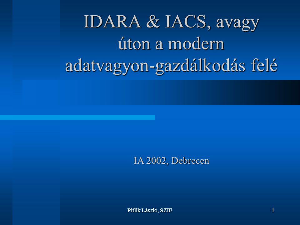 Pitlik László, SZIE1 IDARA & IACS, avagy úton a modern adatvagyon-gazdálkodás felé IA 2002, Debrecen