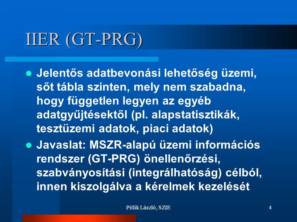 Pitlik László, SZIE4 IIER (GT-PRG) Jelentős adatbevonási lehetőség üzemi, sőt tábla szinten, mely nem szabadna, hogy független legyen az egyéb adatgyűjtésektől (pl.