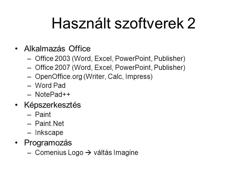 Használt szoftverek 3 WEB Böngészés –Mozilla Firefox –Internet Explorer (nem használt) Egyéb –Adobe Reader 9.4