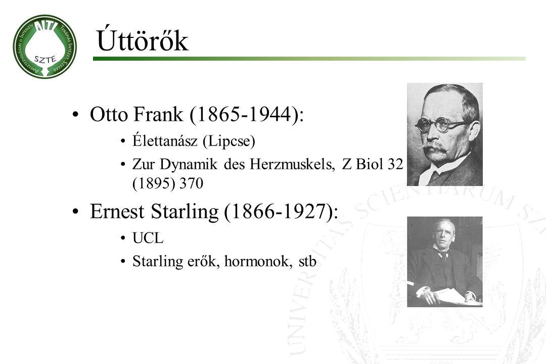 Otto Frank (1865-1944): Élettanász (Lipcse) Zur Dynamik des Herzmuskels, Z Biol 32 (1895) 370 Ernest Starling (1866-1927): UCL Starling erők, hormonok