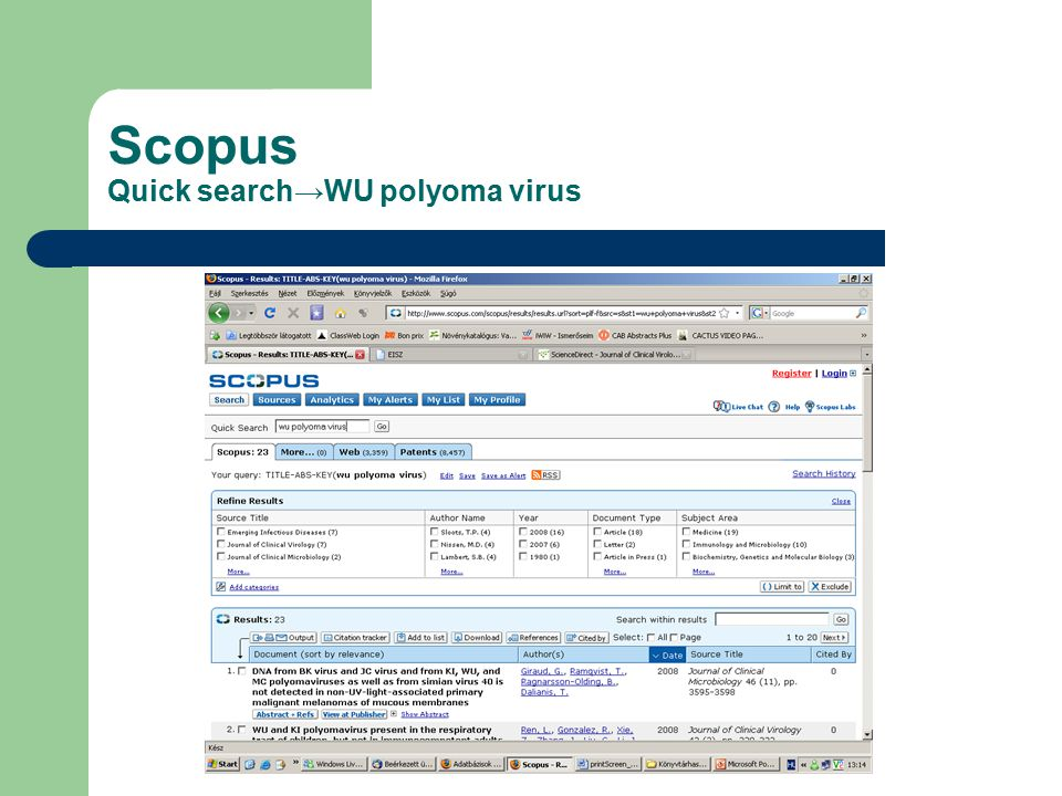 Scopus Quick search→WU polyoma virus