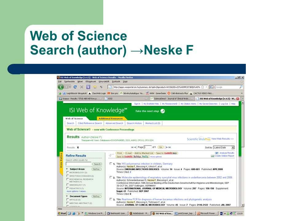 Web of Science Search (author) →Neske F