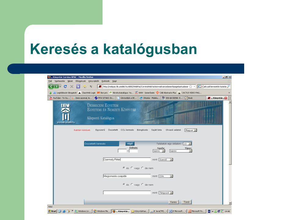 Elektronikus folyóiratok  A-Z-ig (linkek a teljes szöveges elérésekhez)  Szerzői utasítások  NLM folyóiratcímek rövidítése  Nemzeti Periodika Adatbázis (Külföldi időszaki kiadványok lelőhelyei a magyar könyvtárakban 1665-től)  MATARKA (magyar folyóiratok tartalomjegyzékének kereshetô adatbázisa)  Távoli elérés (Adatbázisok, folyóiratok elérése otthonról)  RefWorks A kutatók számára kifejlesztett online segédeszköz, amely az információk gyűjtésében, rendezésében, tárolásában, idézetek és bibliográfiák létrehozásában nyújt segítséget  Folyóiratok Impakt Faktorai 1975-től 2007-ig