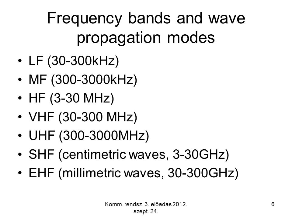 Komm. rendsz. 3. előadás 2012. szept. 24. 6 Frequency bands and wave propagation modes LF (30-300kHz) MF (300-3000kHz) HF (3-30 MHz) VHF (30-300 MHz)