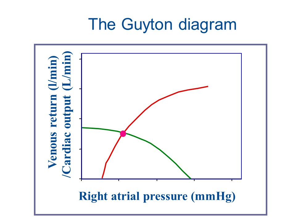 Right atrial pressure (mmHg) Venous return (l/min) /Cardiac output (L/min) The Guyton diagram