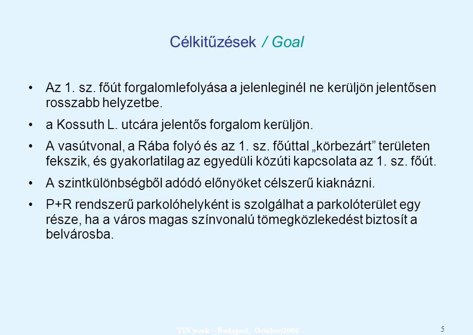 5 Célkitűzések / Goal Az 1. sz. főút forgalomlefolyása a jelenleginél ne kerüljön jelentősen rosszabb helyzetbe. a Kossuth L. utcára jelentős forgalom