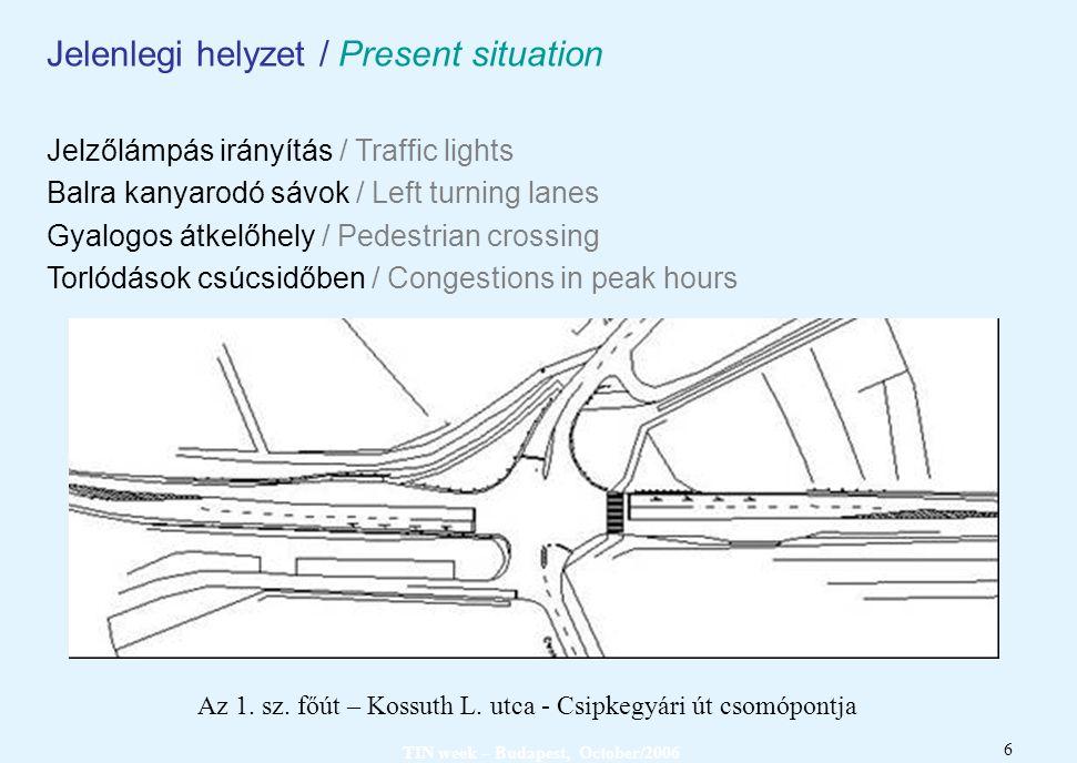 TIN week – Budapest, October/2006 6 Jelenlegi helyzet / Present situation Jelzőlámpás irányítás / Traffic lights Balra kanyarodó sávok / Left turning