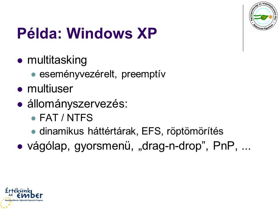 """Példa: Windows XP multitasking eseményvezérelt, preemptív multiuser állományszervezés: FAT / NTFS dinamikus háttértárak, EFS, röptömörítés vágólap, gyorsmenü, """"drag-n-drop , PnP,..."""