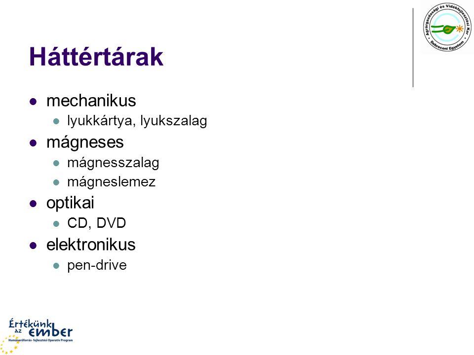 Háttértárak mechanikus lyukkártya, lyukszalag mágneses mágnesszalag mágneslemez optikai CD, DVD elektronikus pen-drive