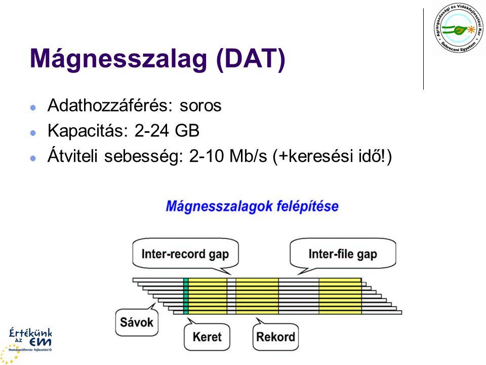 Mágnesszalag (DAT) Adathozzáférés: soros Kapacitás: 2-24 GB Átviteli sebesség: 2-10 Mb/s (+keresési idő!)