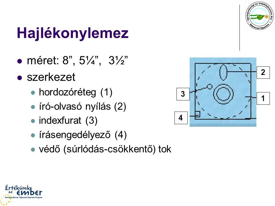 Hajlékonylemez méret: 8 , 5¼ , 3½ szerkezet hordozóréteg (1) író-olvasó nyílás (2) indexfurat (3) írásengedélyező (4) védő (súrlódás-csökkentő) tok 1 2 3 4