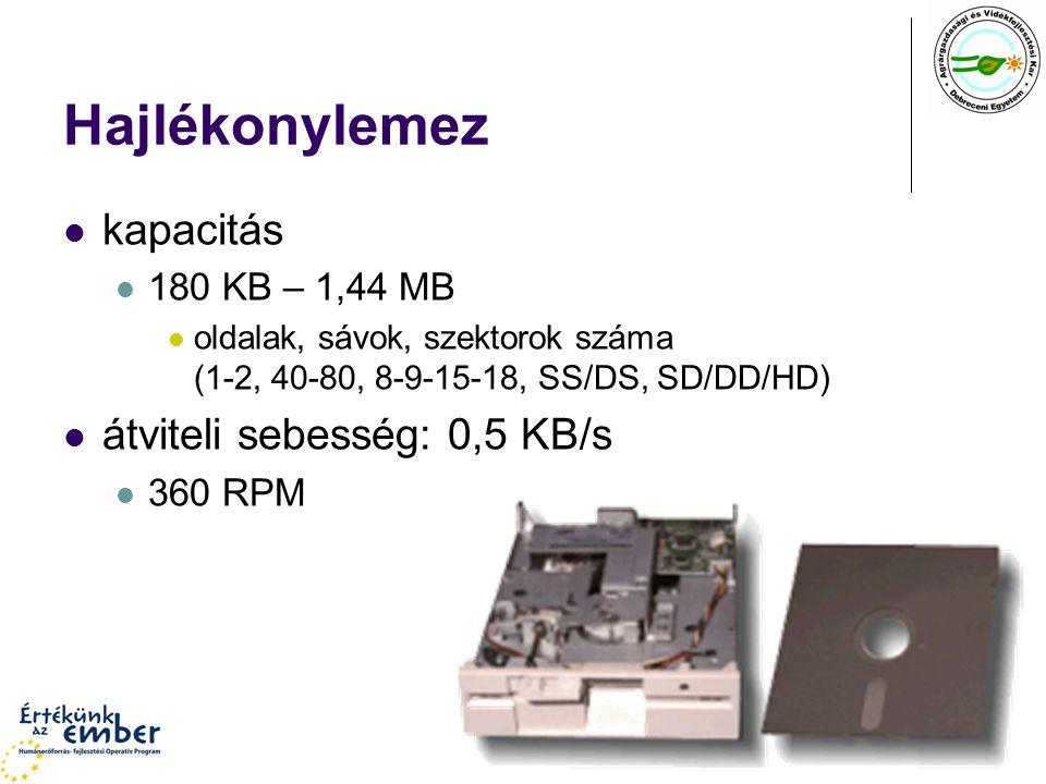 Hajlékonylemez kapacitás 180 KB – 1,44 MB oldalak, sávok, szektorok száma (1-2, 40-80, 8-9-15-18, SS/DS, SD/DD/HD) átviteli sebesség: 0,5 KB/s 360 RPM