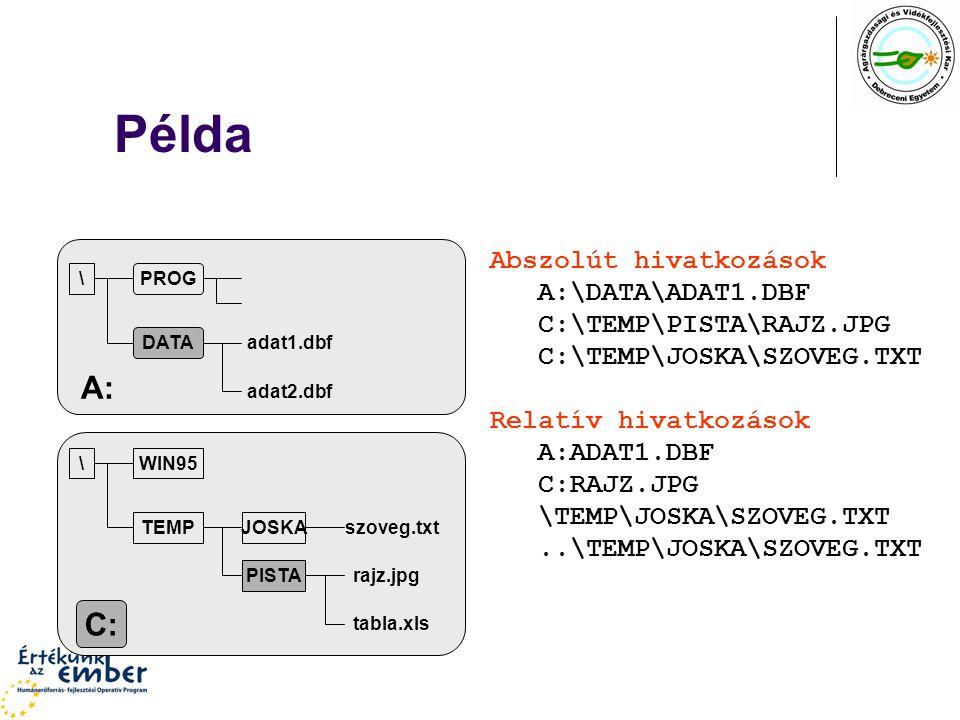 Példa PROG DATA adat1.dbf adat2.dbf \ A: WIN95 TEMPJOSKA PISTA rajz.jpg tabla.xls szoveg.txt \ C: Abszolút hivatkozások A:\DATA\ADAT1.DBF C:\TEMP\PISTA\RAJZ.JPG C:\TEMP\JOSKA\SZOVEG.TXT Relatív hivatkozások A:ADAT1.DBF C:RAJZ.JPG \TEMP\JOSKA\SZOVEG.TXT..\TEMP\JOSKA\SZOVEG.TXT