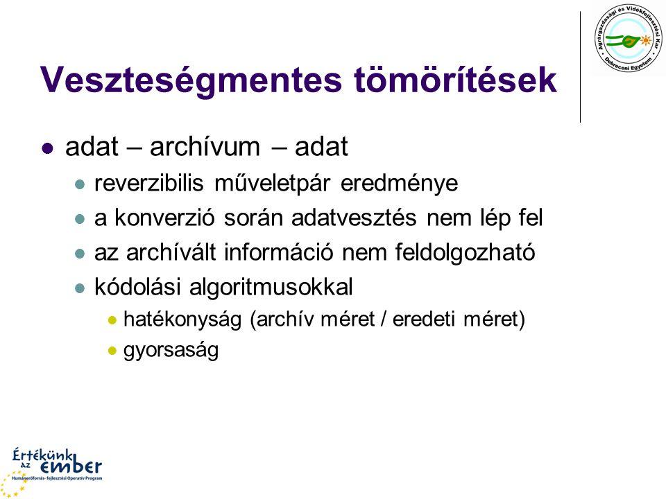 Veszteségmentes tömörítések adat – archívum – adat reverzibilis műveletpár eredménye a konverzió során adatvesztés nem lép fel az archívált információ nem feldolgozható kódolási algoritmusokkal hatékonyság (archív méret / eredeti méret) gyorsaság